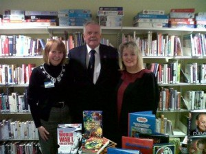 Cllr Howden with Library staff